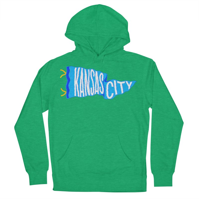 Kansas City Pennant Blue Men's French Terry Pullover Hoody by redleggerstudio's Shop