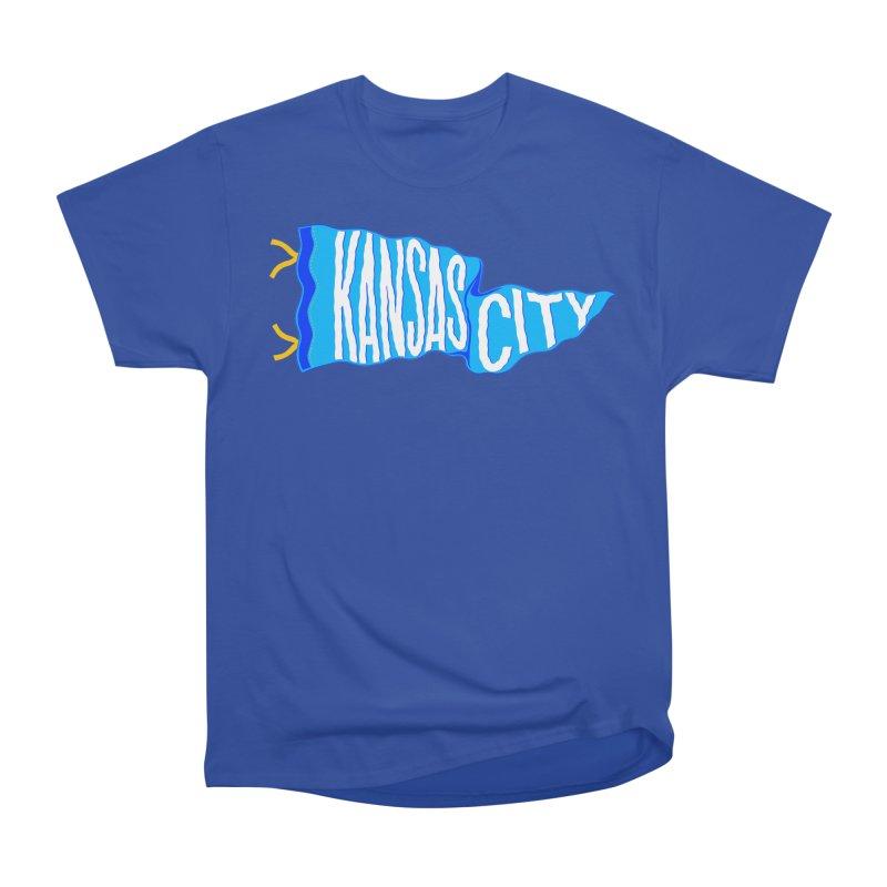 Kansas City Pennant Blue Women's Heavyweight Unisex T-Shirt by redleggerstudio's Shop