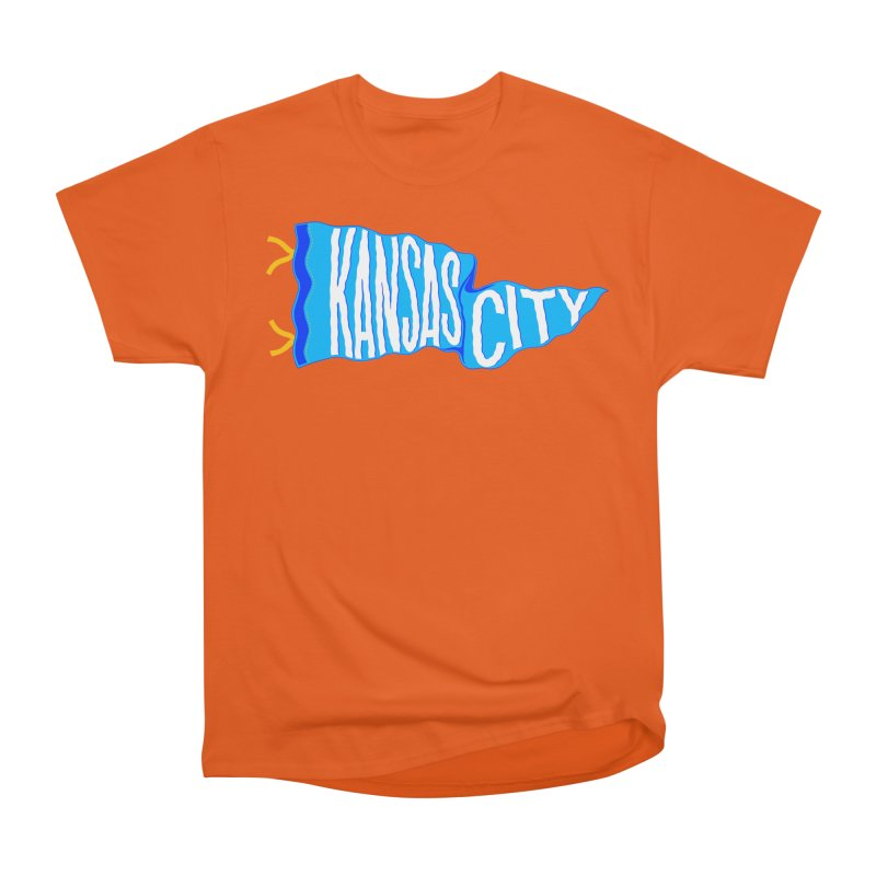 Kansas City Pennant Blue Men's Heavyweight T-Shirt by redleggerstudio's Shop