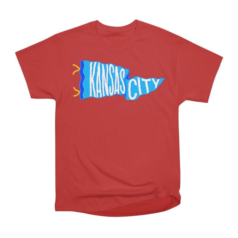 Kansas City Pennant Blue Men's Heavyweight T-Shirt by redleggerstudio's Shop
