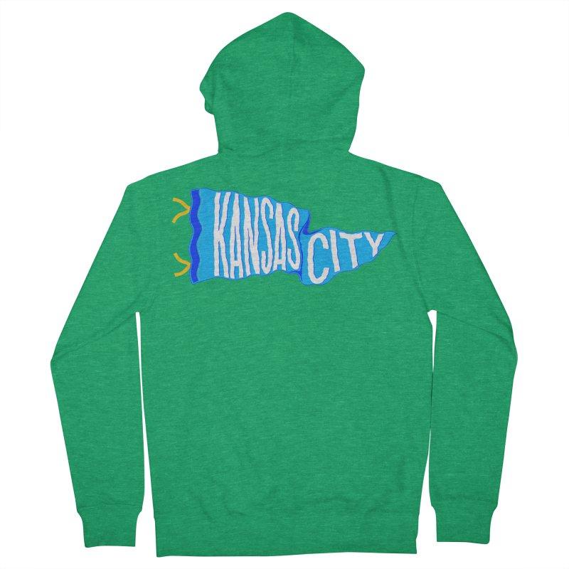 Kansas City Pennant Blue Women's Zip-Up Hoody by redleggerstudio's Shop