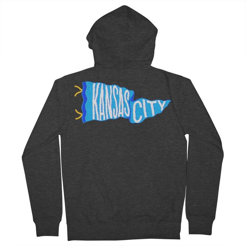 Kansas City Pennant Blue Men's French Terry Zip-Up Hoody by redleggerstudio's Shop