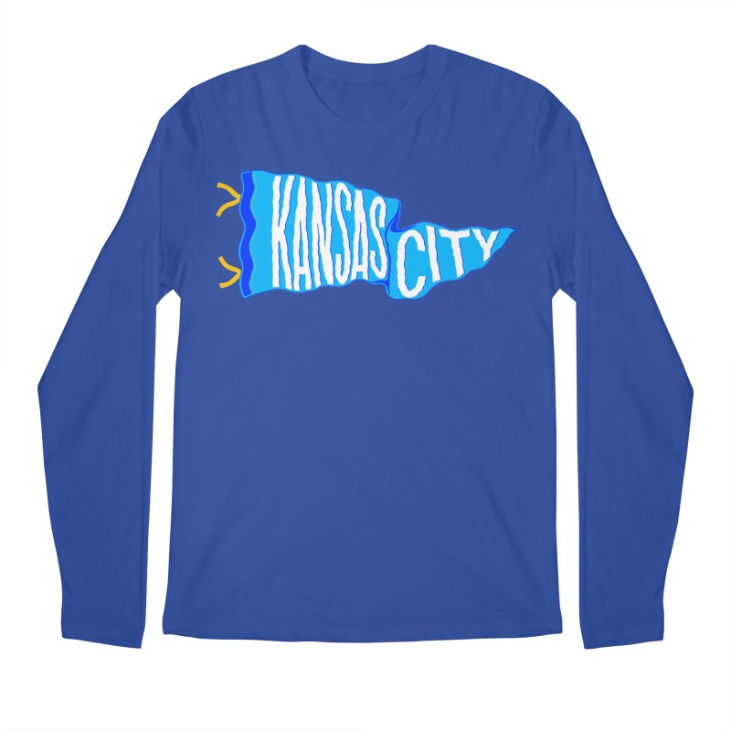 Kansas City Pennant Blue Men's Regular Longsleeve T-Shirt by redleggerstudio's Shop