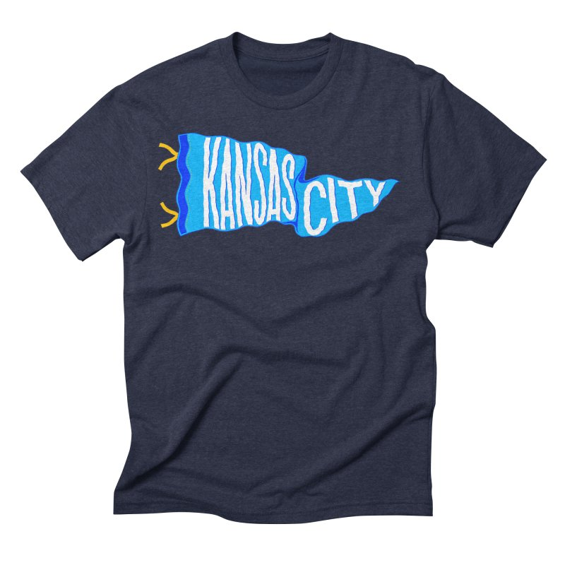 Kansas City Pennant Blue Men's Triblend T-Shirt by redleggerstudio's Shop