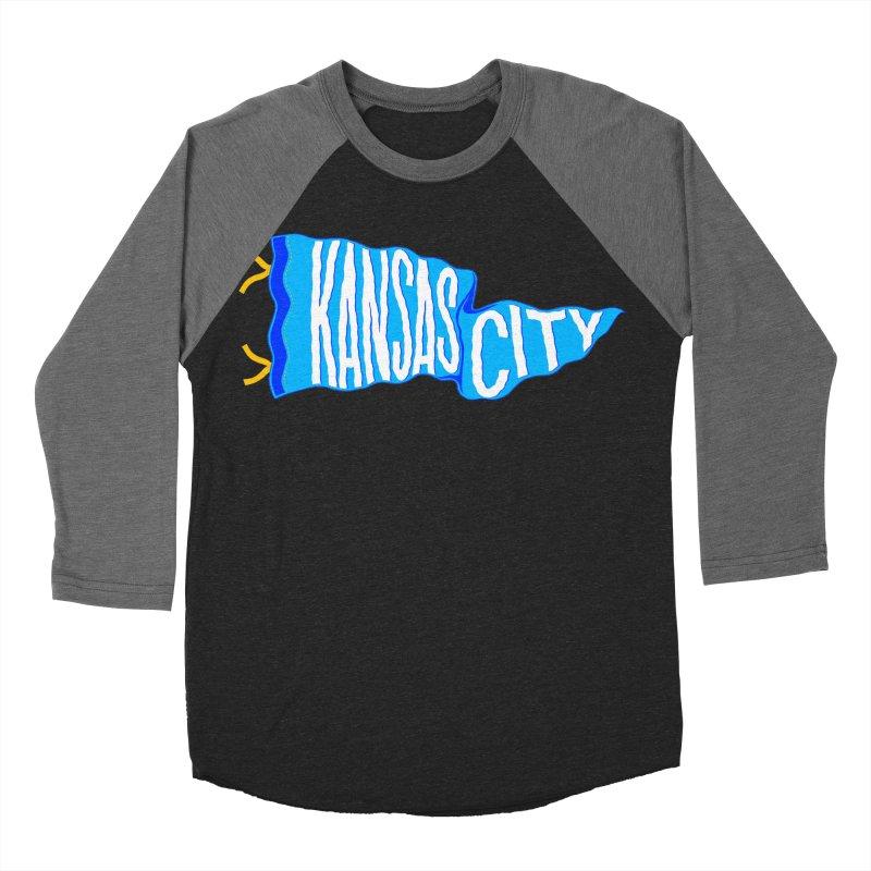 Kansas City Pennant Blue Women's Baseball Triblend Longsleeve T-Shirt by redleggerstudio's Shop
