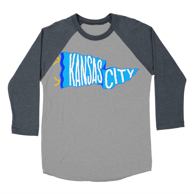 Kansas City Pennant Blue Women's Baseball Triblend Longsleeve T-Shirt by redleggerstudio's Shop