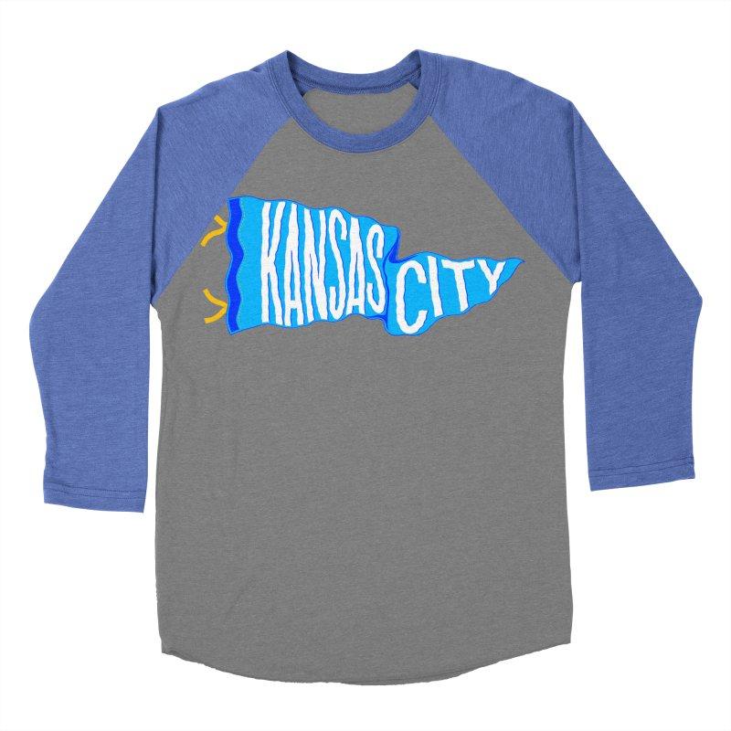 Kansas City Pennant Blue Men's Baseball Triblend Longsleeve T-Shirt by redleggerstudio's Shop