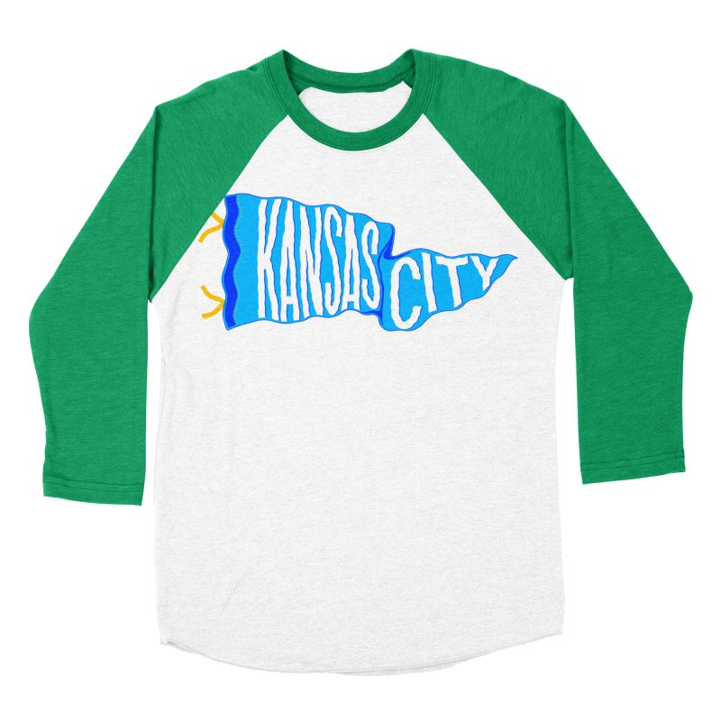 Kansas City Pennant Blue Men's Baseball Triblend Longsleeve T-Shirt by redleggerstudio's Shop