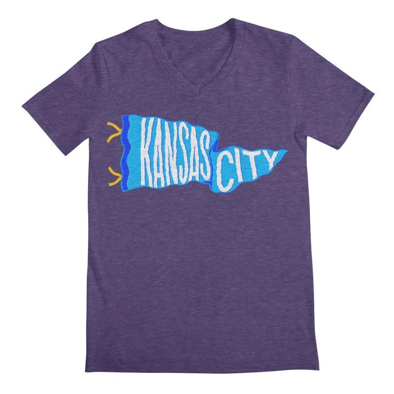 Kansas City Pennant Blue Men's Regular V-Neck by redleggerstudio's Shop