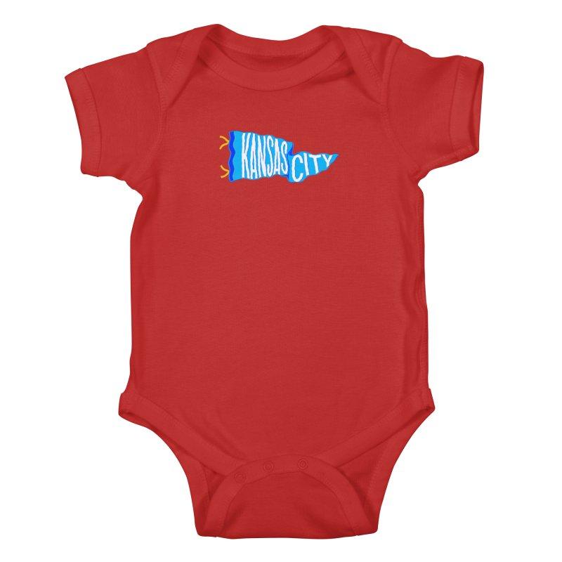 Kansas City Pennant Blue Kids Baby Bodysuit by redleggerstudio's Shop