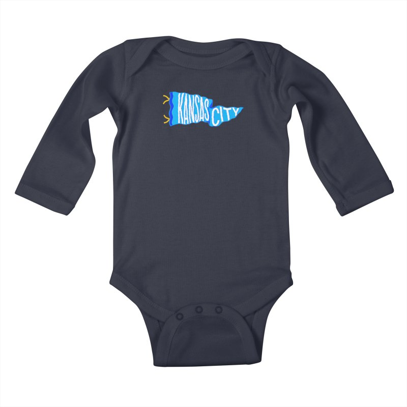 Kansas City Pennant Blue Kids Baby Longsleeve Bodysuit by redleggerstudio's Shop