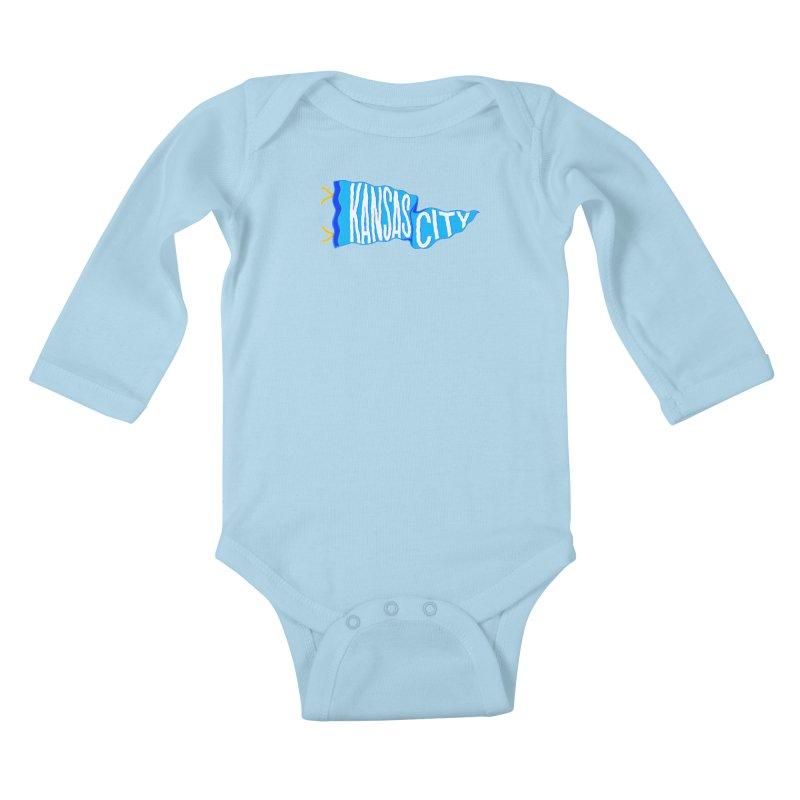Kansas City Pennant Blue Kids Baby Longsleeve Bodysuit by redleggerstudio's Shop