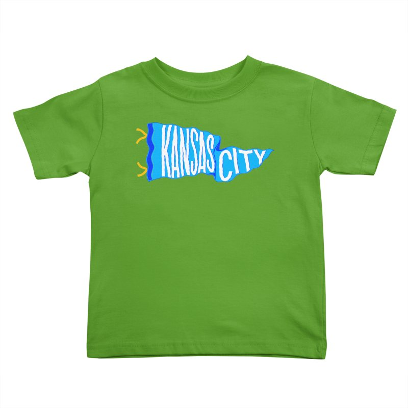 Kansas City Pennant Blue Kids Toddler T-Shirt by redleggerstudio's Shop