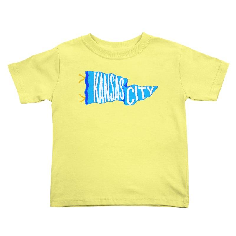 Kansas City Pennant Blue Kids Toddler T-Shirt by redleggerstudio's Shop