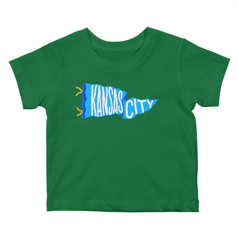Kansas City Pennant Blue Kids Baby T-Shirt by redleggerstudio's Shop