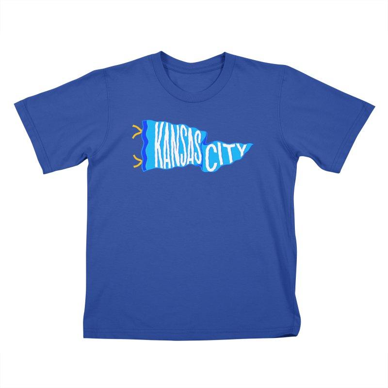 Kansas City Pennant Blue Kids T-Shirt by redleggerstudio's Shop