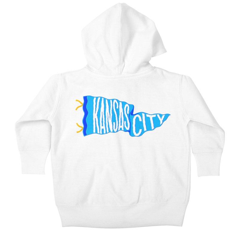Kansas City Pennant Blue Kids Baby Zip-Up Hoody by redleggerstudio's Shop