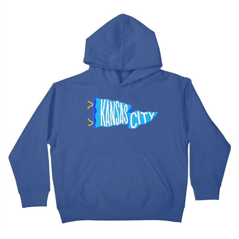 Kansas City Pennant Blue Kids Pullover Hoody by redleggerstudio's Shop