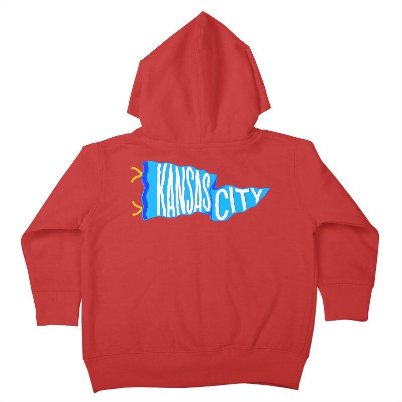Kansas City Pennant Blue Kids Toddler Zip-Up Hoody by redleggerstudio's Shop