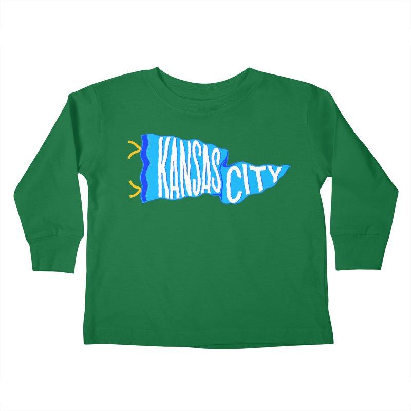 Kansas City Pennant Blue Kids Toddler Longsleeve T-Shirt by redleggerstudio's Shop