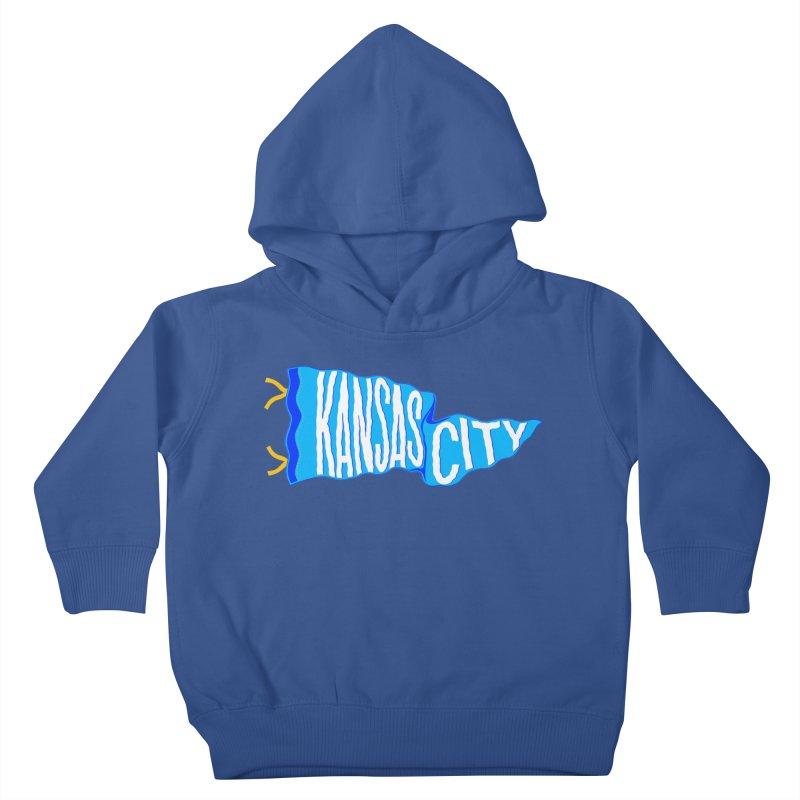 Kansas City Pennant Blue Kids Toddler Pullover Hoody by redleggerstudio's Shop