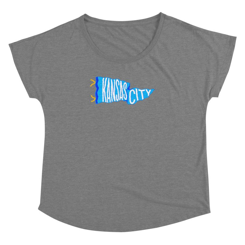 Kansas City Pennant Blue Women's Dolman Scoop Neck by redleggerstudio's Shop