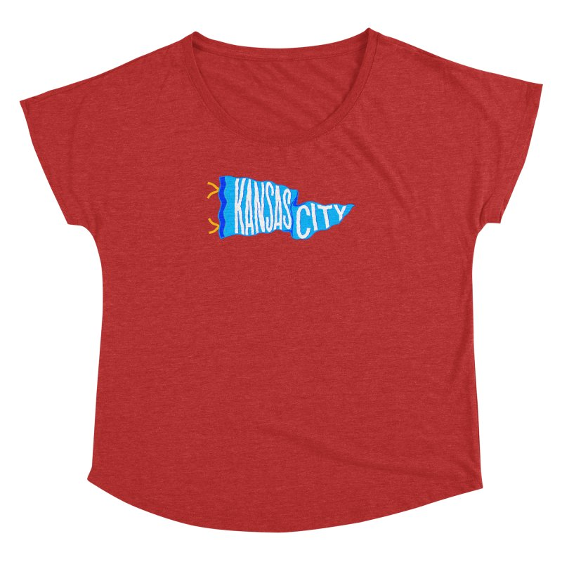 Kansas City Pennant Blue Women's Dolman Scoop Neck by redleggerstudio's Shop
