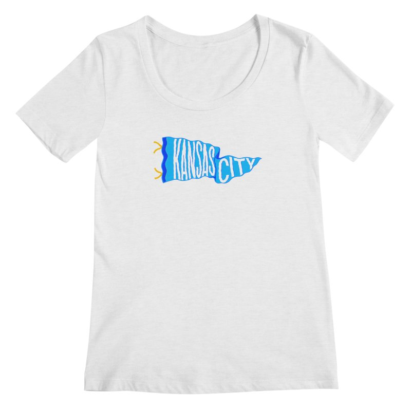 Kansas City Pennant Blue Women's Regular Scoop Neck by redleggerstudio's Shop