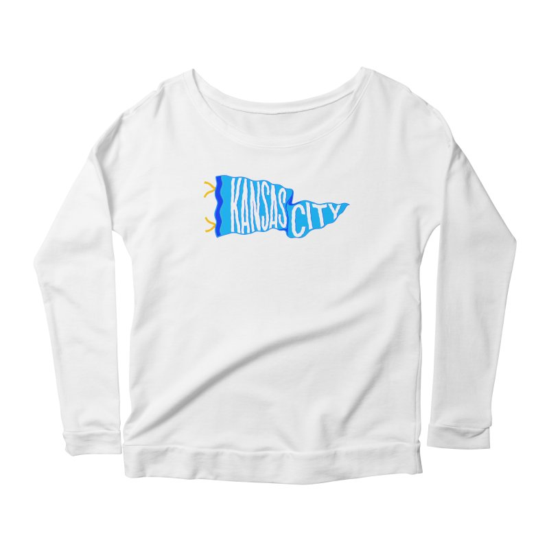 Kansas City Pennant Blue Women's Scoop Neck Longsleeve T-Shirt by redleggerstudio's Shop