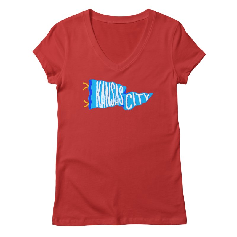 Kansas City Pennant Blue Women's Regular V-Neck by redleggerstudio's Shop