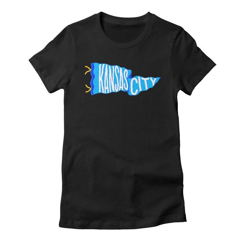 Kansas City Pennant Blue Women's Fitted T-Shirt by redleggerstudio's Shop