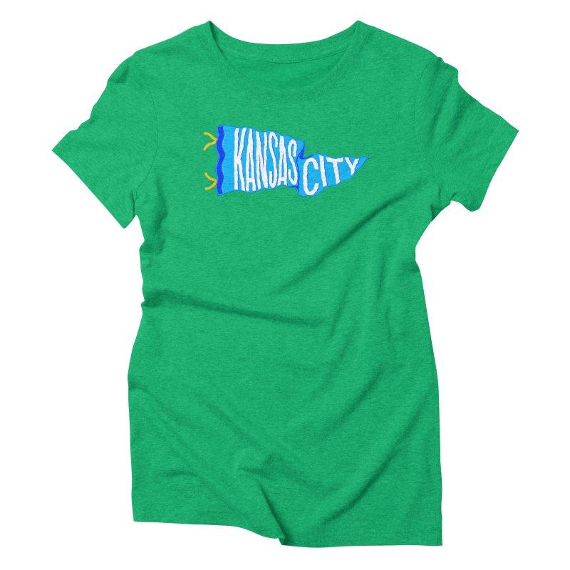 Kansas City Pennant Blue Women's Triblend T-Shirt by redleggerstudio's Shop