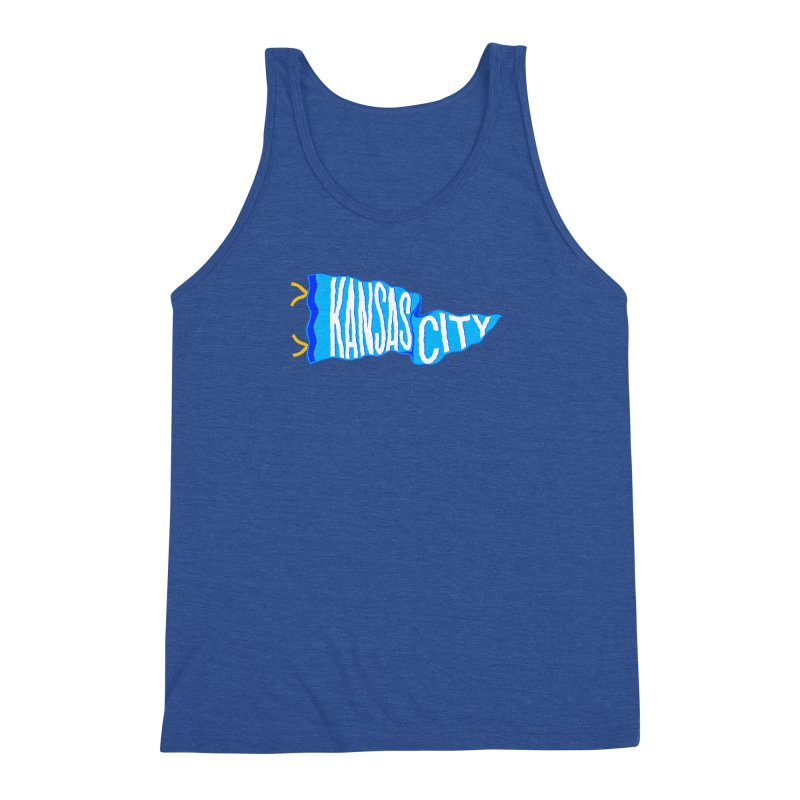 Kansas City Pennant Blue Men's Triblend Tank by redleggerstudio's Shop