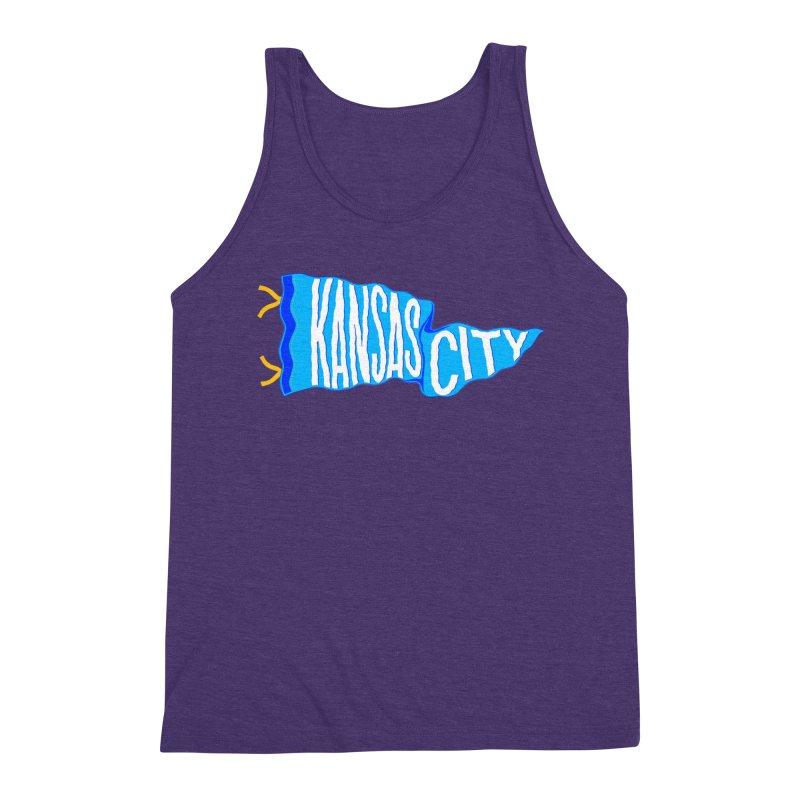 Kansas City Pennant Blue Men's Triblend Tank by redleggerstudio's Shop