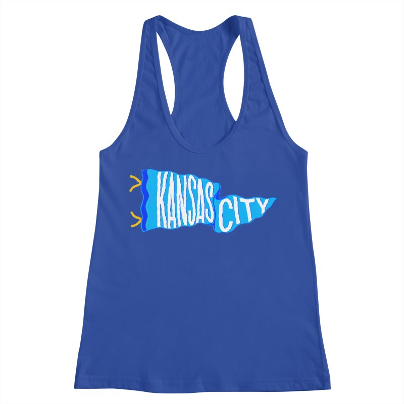 Kansas City Pennant Blue Women's Racerback Tank by redleggerstudio's Shop
