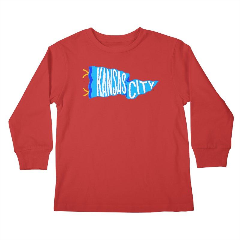 Kansas City Pennant Blue Kids Longsleeve T-Shirt by redleggerstudio's Shop