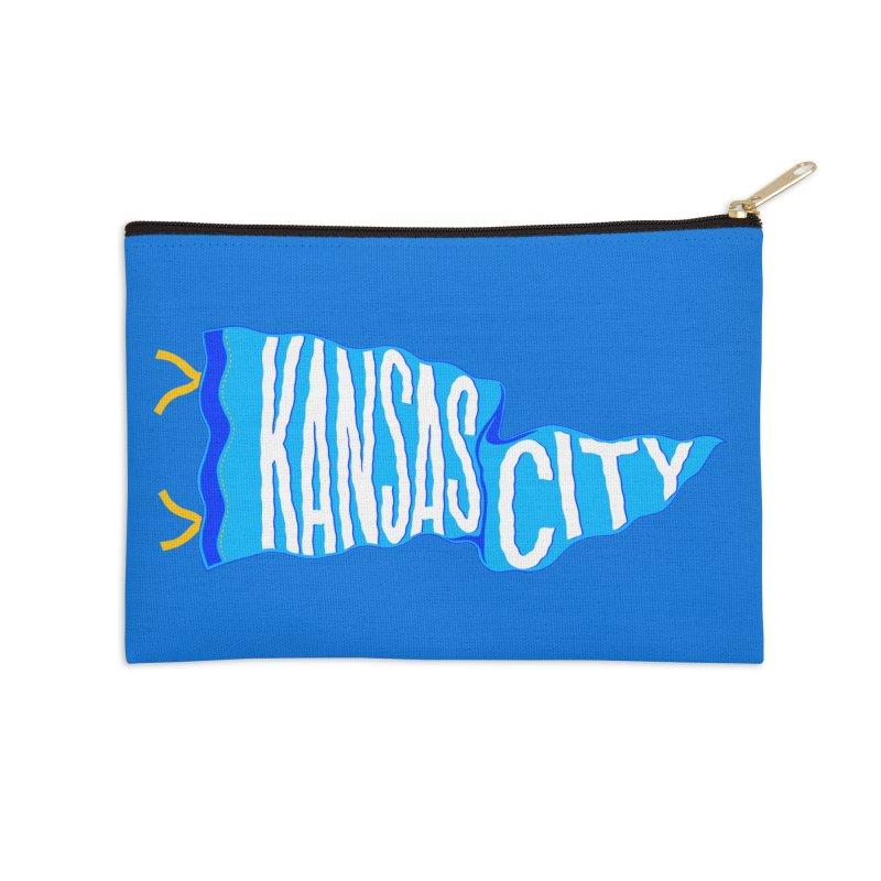 Kansas City Pennant Blue Accessories Zip Pouch by redleggerstudio's Shop