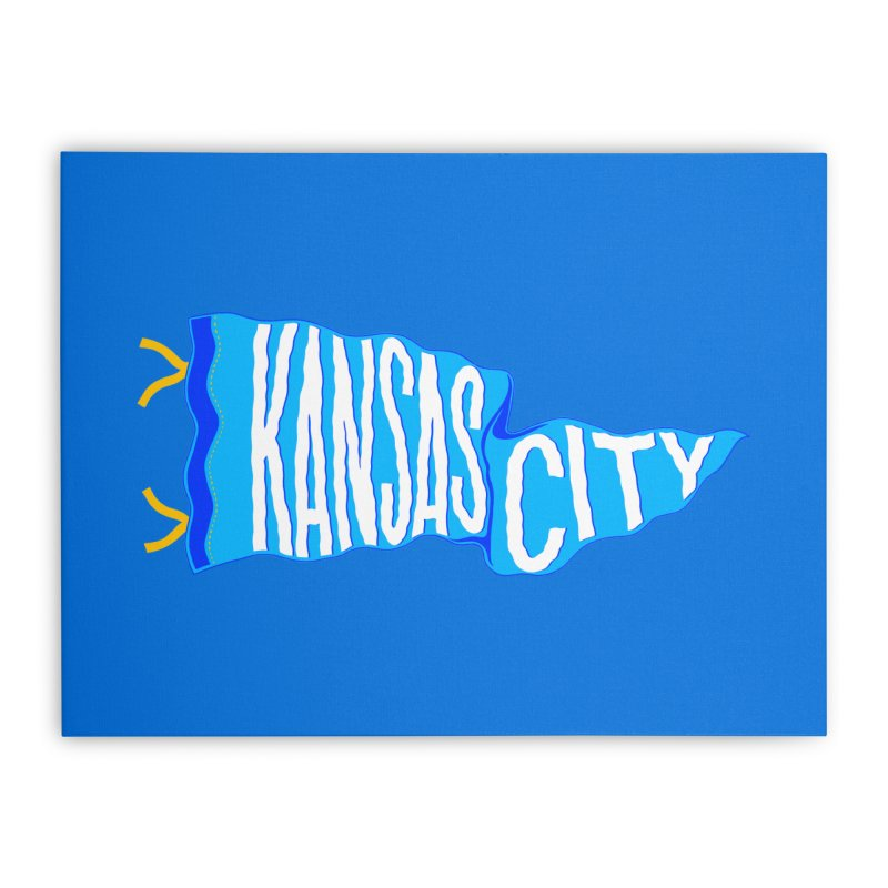 Kansas City Pennant Blue Home Stretched Canvas by redleggerstudio's Shop