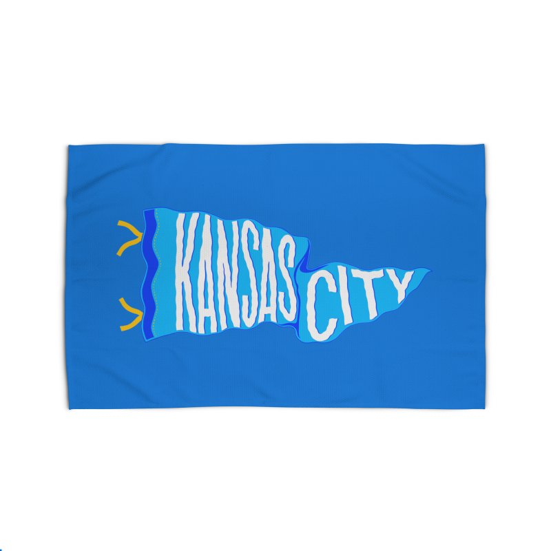 Kansas City Pennant Blue Home Rug by redleggerstudio's Shop