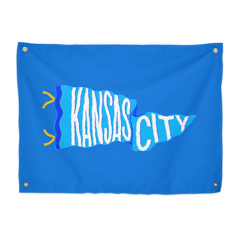 Kansas City Pennant Blue Home Tapestry by redleggerstudio's Shop