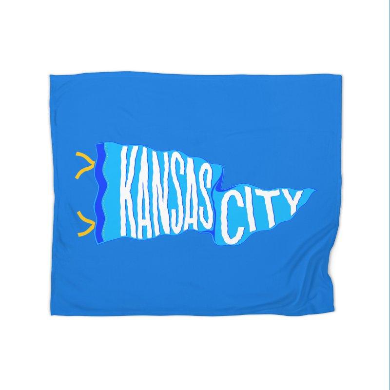 Kansas City Pennant Blue Home Fleece Blanket Blanket by redleggerstudio's Shop