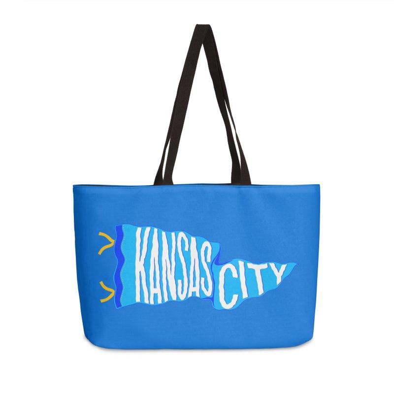 Kansas City Pennant Blue Accessories Weekender Bag Bag by redleggerstudio's Shop