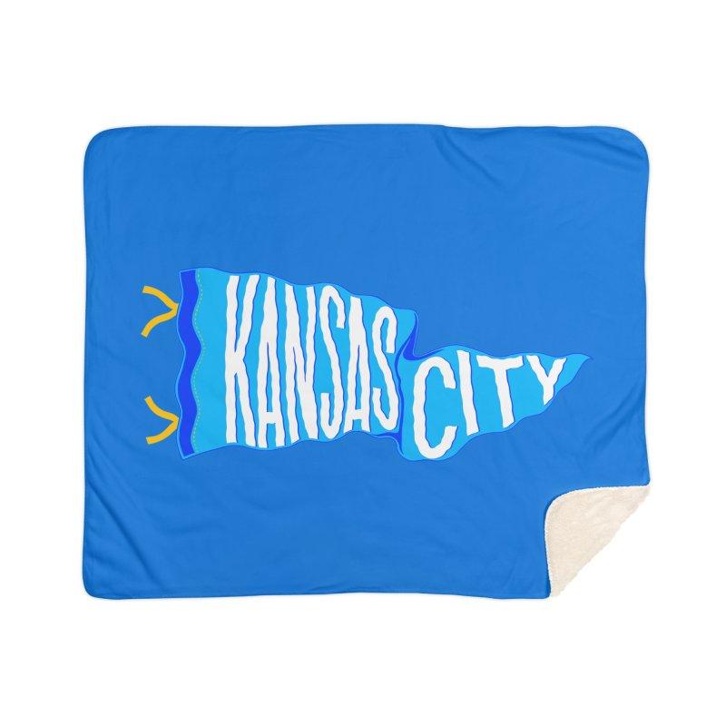 Kansas City Pennant Blue Home Sherpa Blanket Blanket by redleggerstudio's Shop