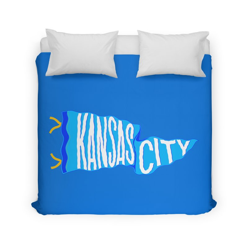 Kansas City Pennant Blue Home Duvet by redleggerstudio's Shop