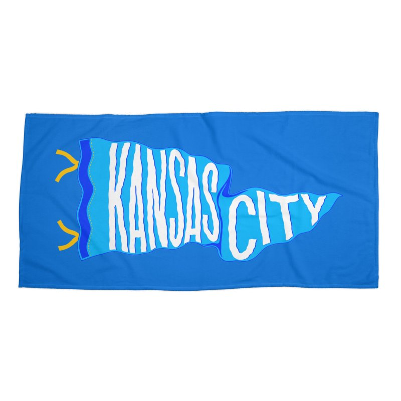 Kansas City Pennant Blue Accessories Beach Towel by redleggerstudio's Shop