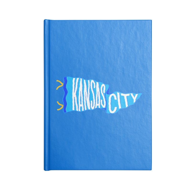 Kansas City Pennant Blue Accessories Lined Journal Notebook by redleggerstudio's Shop