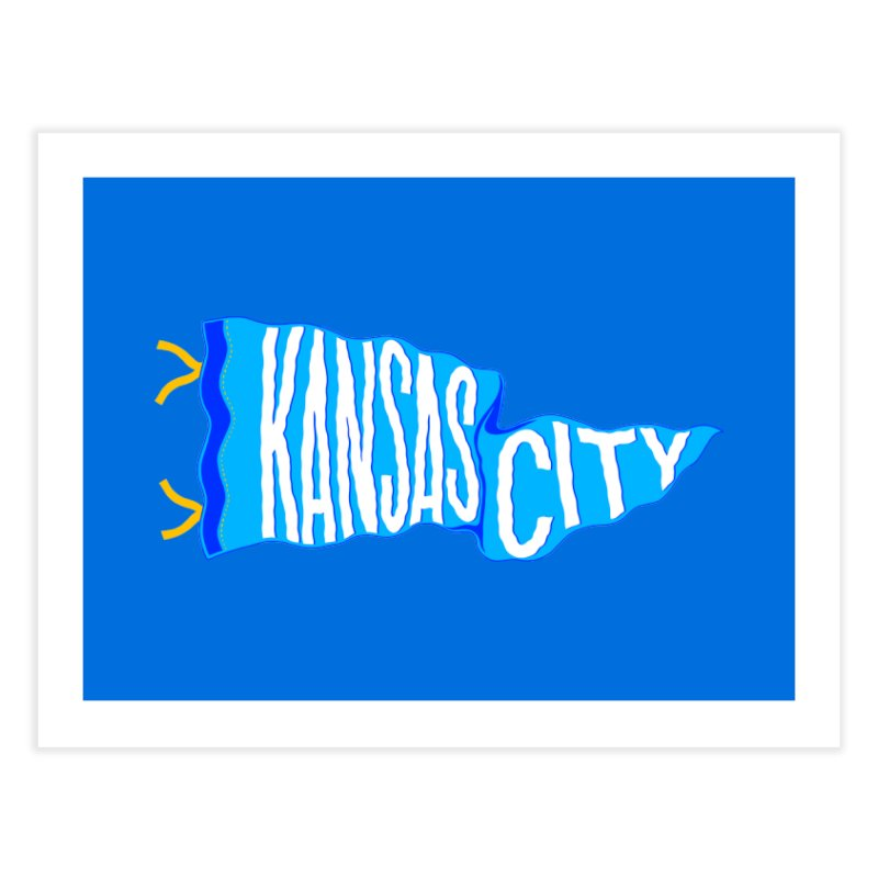 Kansas City Pennant Blue Home Fine Art Print by redleggerstudio's Shop