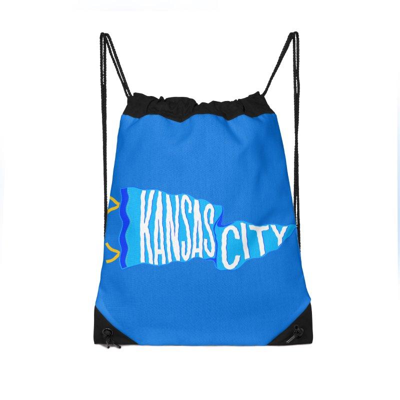 Kansas City Pennant Blue Accessories Drawstring Bag Bag by redleggerstudio's Shop