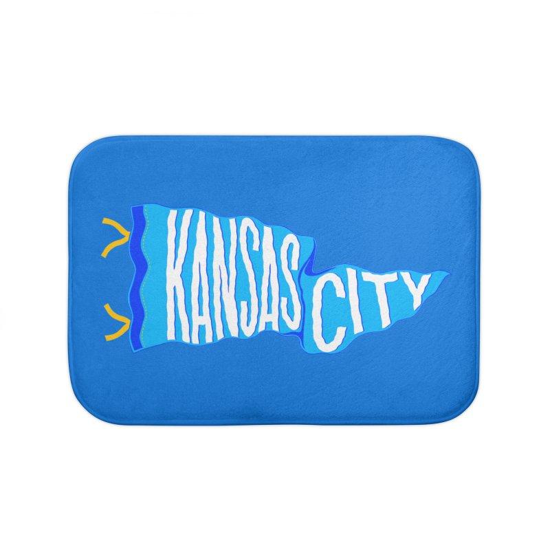 Kansas City Pennant Blue Home Bath Mat by redleggerstudio's Shop