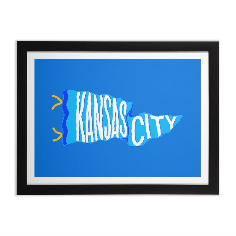 Kansas City Pennant Blue Home Framed Fine Art Print by redleggerstudio's Shop